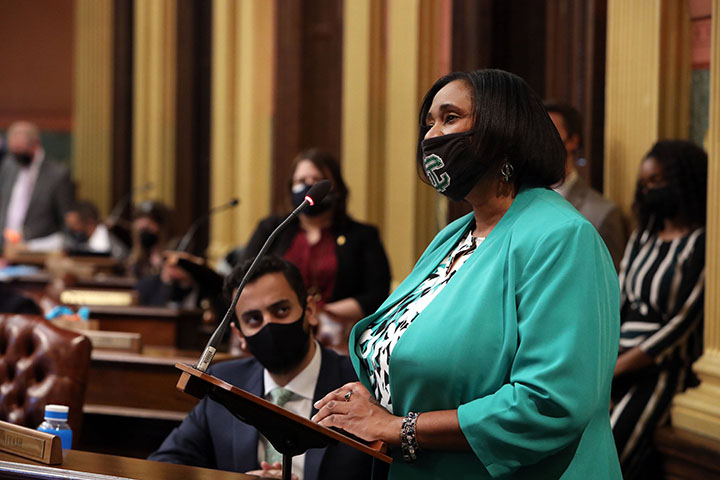 State Rep. Stephanie Young (D-Detroit) spoke to her resolution recognizing March 25, 2021, as Cerebral Palsy Awareness Day in the state of Michigan.