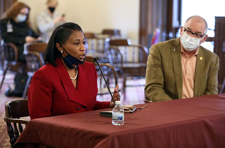 State Rep. Tenisha Yancey (D-Detroit) testified in support of a package of bills addressing OWI record expungement, in the Senate Committee on Judiciary and Public Safety, on Thursday, April 15, 2021.