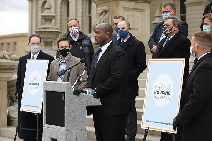 State Rep. Joe Tate (D-Detroit) spoke at a bipartisan press conference addressing the state's housing crisis, on the Capitol steps Thursday, April 15, 2021.