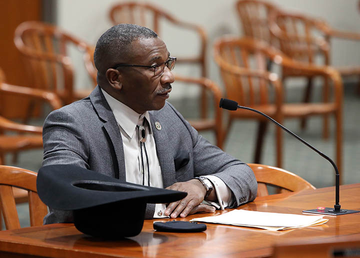 State Rep. Amos O'Neal (D-Saginaw) testified on House Bill 4184, which would allow district court magistrates to hear and preside over certain marijuana civil infractions or civil fines, in the House Judiciary Committee on March 16, 2021.