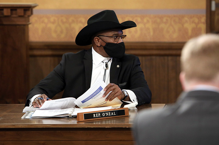 State Rep. Amos O'Neal (D-Saginaw) listened to testimony in the House Appropriations Committee on February 17, 2021.