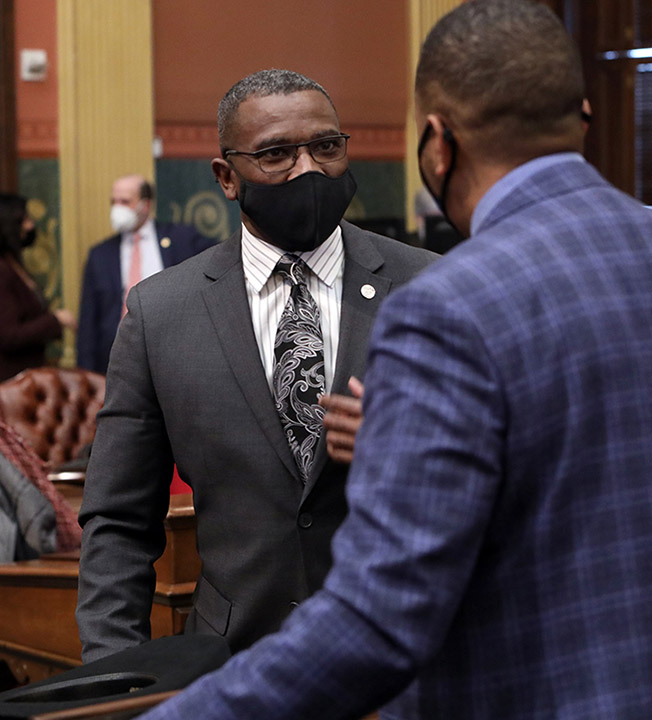 State Rep. Amos O'Neal (D-Saginaw) discussed legislation on the House floor on February 18, 2021.
