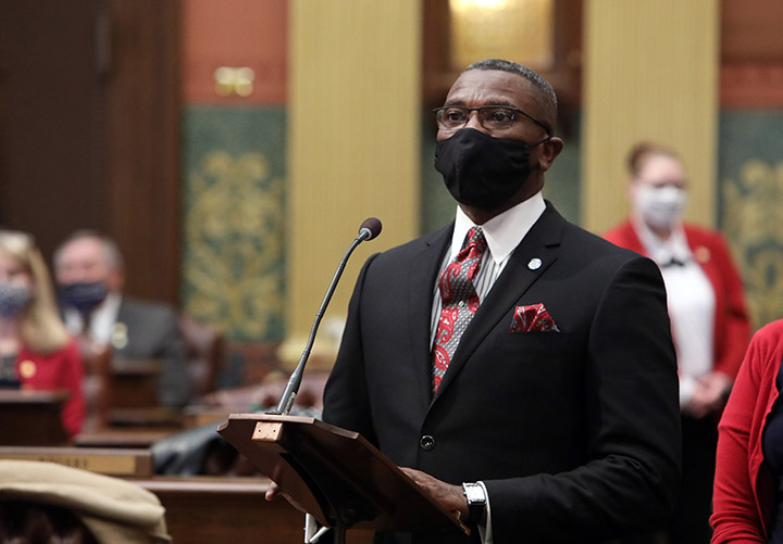 State Rep. Amos O'Neal (D-Saginaw) spoke on the House floor on February 4, 2021.