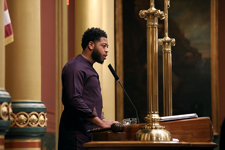 State Rep. Jewell Jones (D-Inkster) gave the invocation to start session on Tuesday, May 18, 2021.