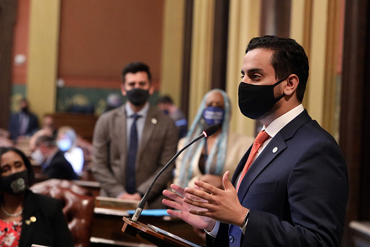 State Rep. Abraham Aiyash (D-Detroit) spoke to his resolution recognizing the Islamic holy month of Ramadan, on April 13, 2021.