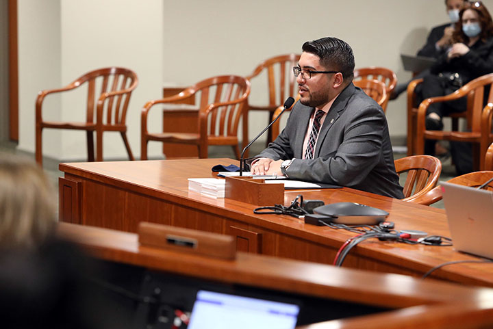 State Rep. Alex Garza (D-Taylor) testified on House Bill 4632 in the House Committee on Judiciary, on Tuesday, April 27, 2021.