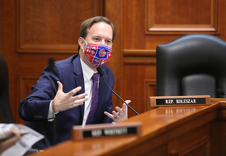 State Rep. Matt Koleszar (D-Plymouth Twp.) questioned testimony on ethics reform legislation in the House Committee on Elections and Ethics, Tuesday, April 27, 2021.