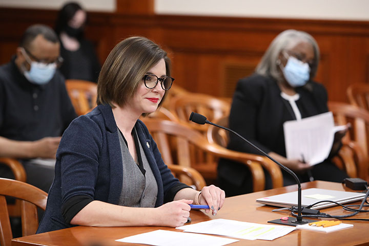 State Rep. Laurie Pohutsky (D-Livonia) testified on House Bill 4687, part of a bipartisan ethics reform package, in the House Committee on Elections and Ethics on Tuesday, April 27, 2021.