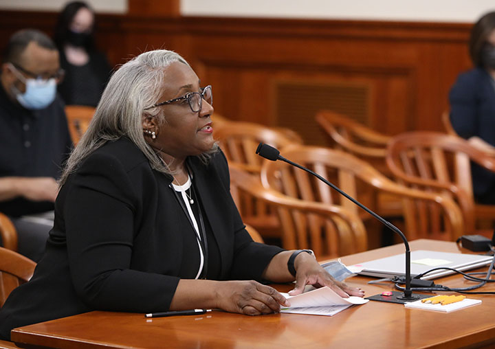 State Rep. Helena Scott (D-Detroit) testified on House Bill 4692, part of a bipartisan ethics reform package, in the House Committee on Elections and Ethics on Tuesday, April 27, 2021.