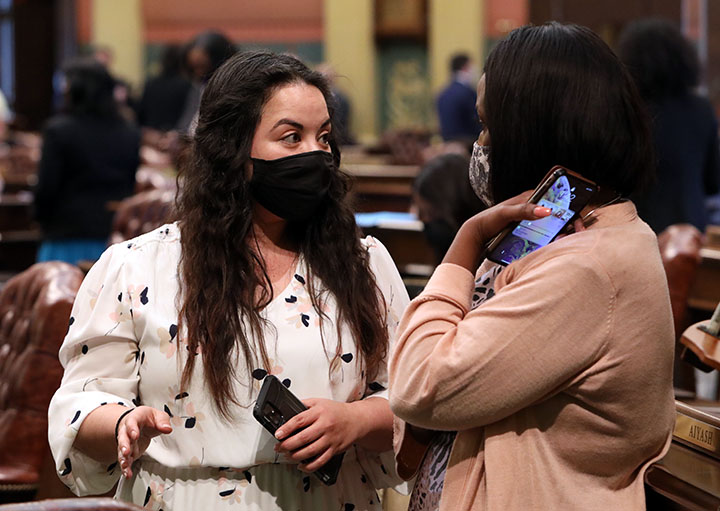 State Rep. Mary Cavanagh (D-Redford Twp.) discusses legislation on the House floor on Tuesday, April 27, 2021.