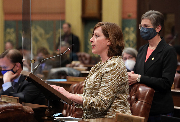 State Rep. Julie Rogers (D-Kalamazoo) spoke to her resolution recognizing May as Bike Month, on Thursday, May 6, 2021.