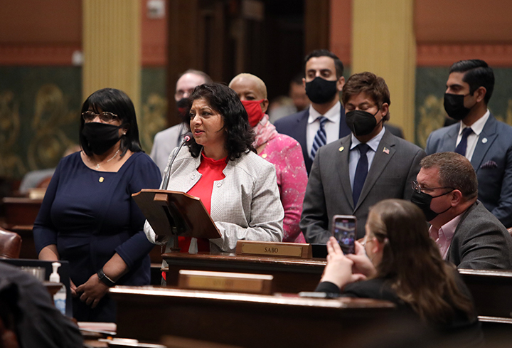 State Rep. Padma Kuppa (D-Troy) spoke to her resolution recognizing May as Asian American and Pacific Islander Heritage Month, on Thursday, May 6, 2021.