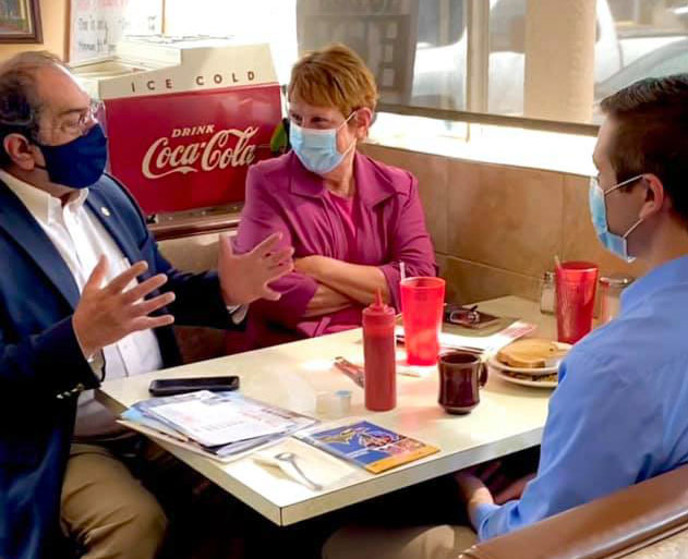 State Rep. Tim Sneller (D-Burton) speaks with constituents at his coffee hour at Scotti's Coney Island in Burton on May 7, 2021.