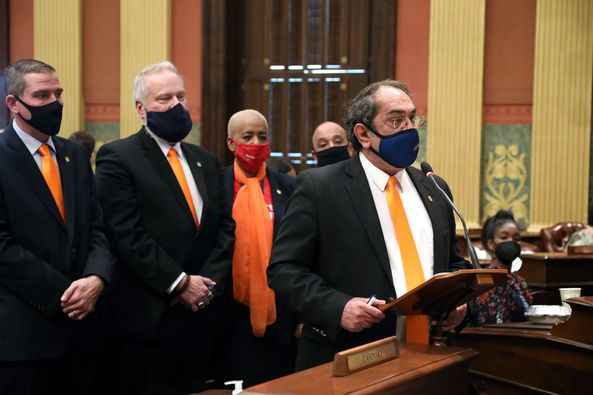 State Rep. Tim Sneller (D-Burton) spoke on the House Floor to show support for roadway safety professionals across the country on April 28, 2021 for National Work Zone Awareness Week that takes place April 26-30, 2021. It's an important time to show support for the roadway safety industry, especially to the families of victims who have lost their lives in work zones.