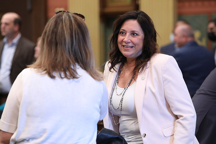 State Rep. Angela Witwer (D-Delta Township) on the House floor May 25, 2021.