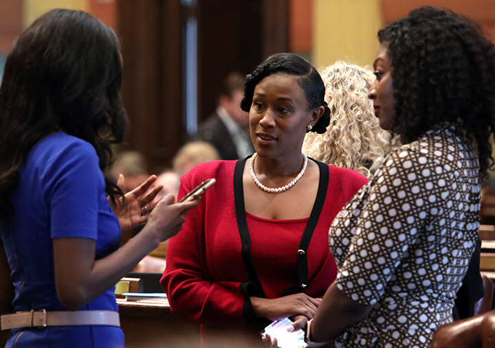 State Rep. Tenisha Yancey (D-Detroit) discusses legislation on the House floor May 27, 2021.