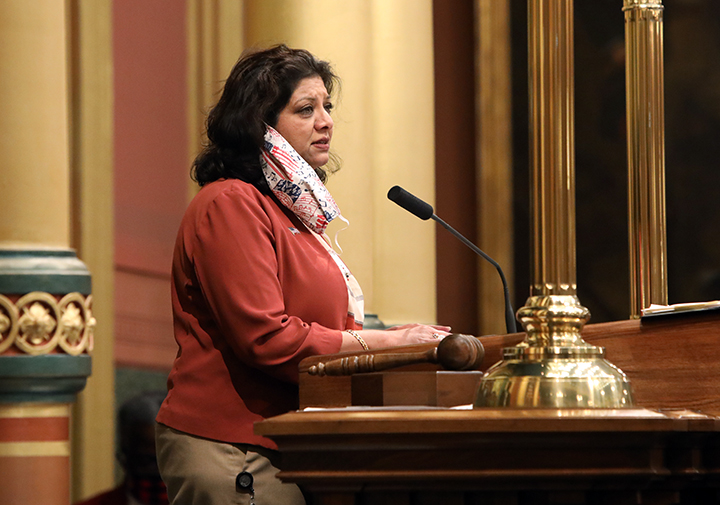 State Rep. Padma Kuppa (D-Troy) gave the invocation to open session on September 23, 2020.