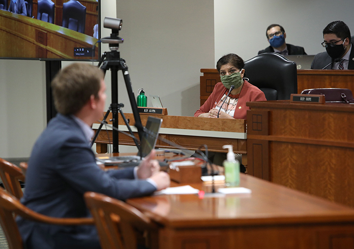 State Rep. Padma Kuppa (D-Troy) listened to testimony in the House Committee on Local Government and Municipal Finance on May 28, 2020.
