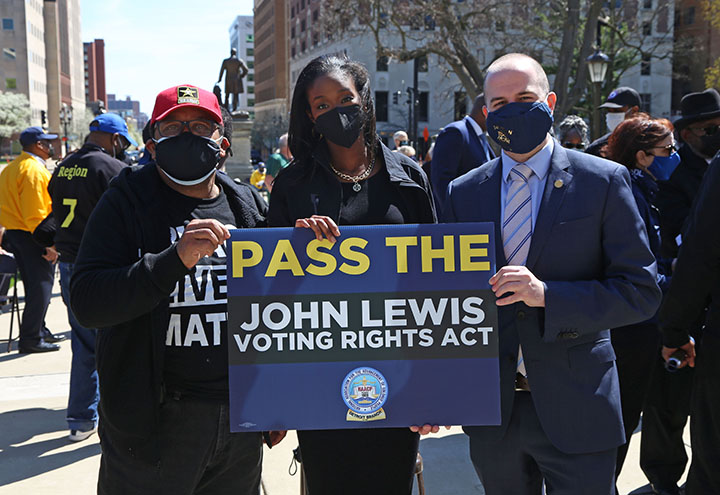State Rep. Kyra Bolden (D-Southfield) attended a voting rights rally at the Capitol on April 13, 2021.