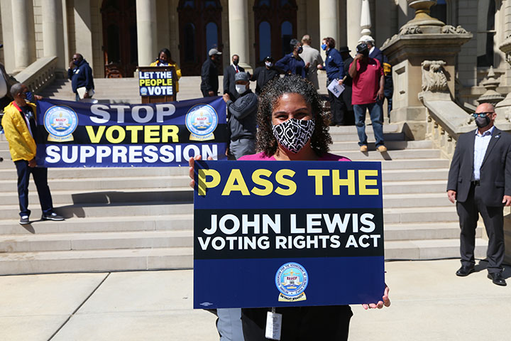 State Rep. Felicia Brabec (D-Pittsfield Twp.) attended a voting rights rally at the Capitol on April 13, 2021.
