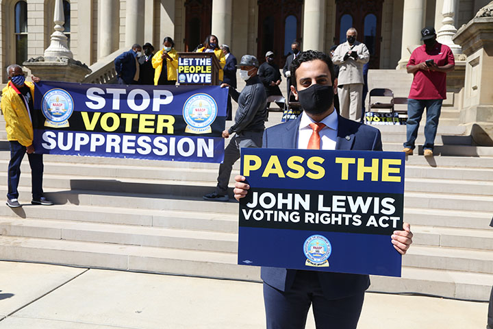 State Rep. Abraham Aiyash (D-Hamtramck) attended a voting rights rally at the Capitol on April 13, 2021.