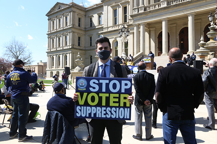 State Rep. Darrin Camilleri (D-Trenton) attended a voting rights rally at the Capitol on April 13, 2021.