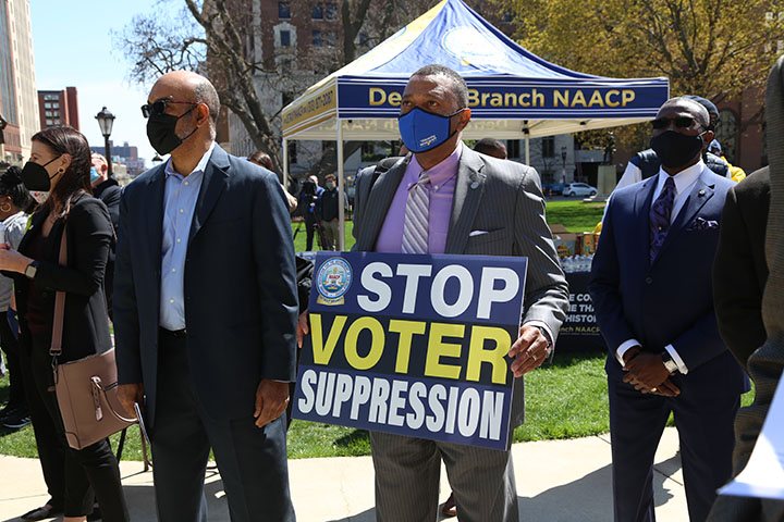 State Rep. Tyrone Carter (D-Detroit) attended a voting rights rally at the Capitol on April 13, 2021.