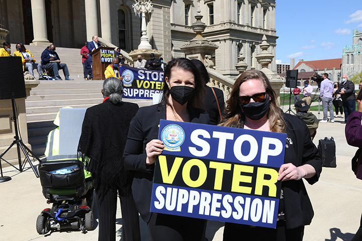 State Reps. Kelly Breen (D-Novi) and Samantha Steckloff (D-Farmington Hills) attended a voting rights rally at the Capitol on April 13, 2021.