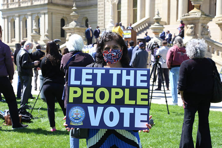 State Rep. Padma Kuppa (D-Troy) at the Voting Rights Rally at the Capiitol on April 13, 2021.