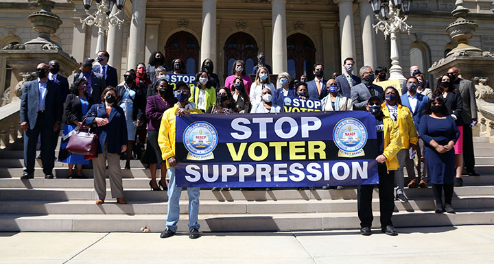 Democratic state representatives attended a voting rights rally at the Capitol on April 13, 2021.