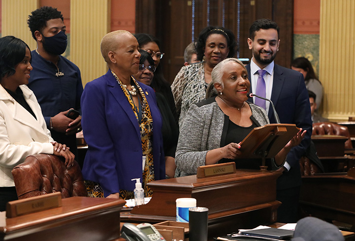 State Rep. Helena Scott (D-Detroit) spoke to her resolution declaring May 20, 2021, as Negro Leaguers Baseball Day in the state of Michigan.