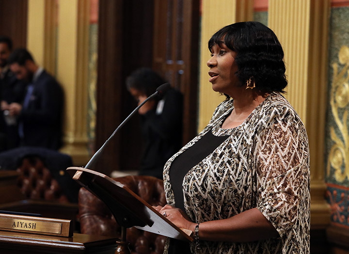 State Rep. Stephanie Young (D-Detroit) spoke on the House floor on June 30, 2021.