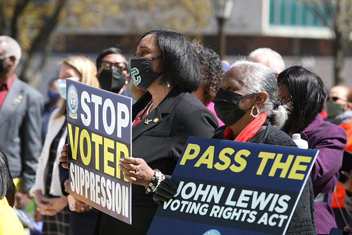 State Rep. Stephanie Young (D-Detroit) attended a voting rights rally at the Capitol on April 13, 2021.