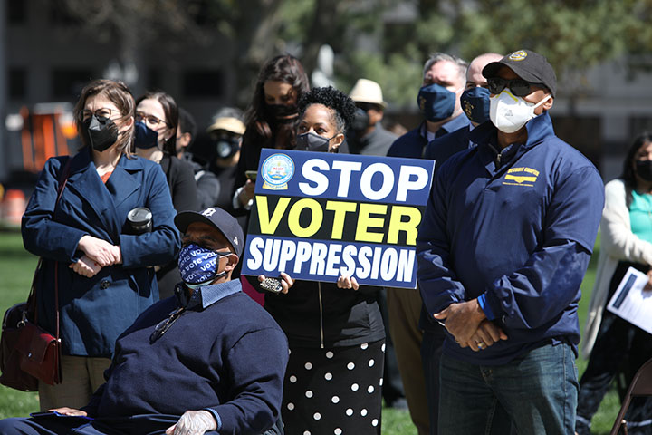 State Rep. Karen Whitsett (D-Detroit) attended a voting rights rally at the Capitol on April 13, 2021.