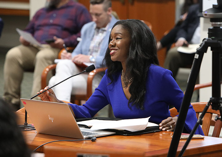 State Rep. Kyra Bolden (D-Southfield) testified on House Bill 4646, which would expand incentives for neighborhood enterprise zones, in the House Committee on Local Government and Municipal Finance on June 2, 2021.