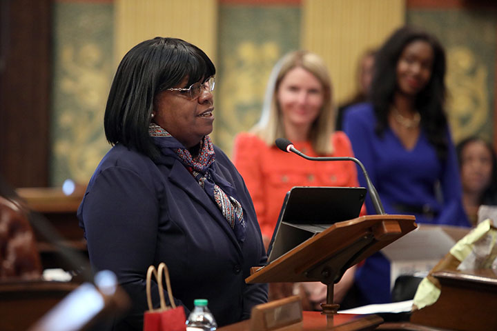 State Rep. Brenda Carter (D-Pontiac) spoke on her resolution declaring June 2021 as Elder Abuse Awareness Month. It was adopted on June2, 2021.