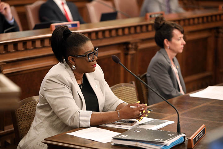 State Rep. Cynthia Neeley (D-Flint) listened to testimony in Health Policy Committee on June 3, 2021.