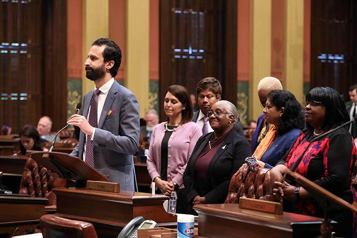 Democratic Floor Leader Yousef Rabhi (D-Ann Arbor) spoke to his resolution declaring June as Alzheimer's Awareness Month in Michigan, on June 3, 2021.