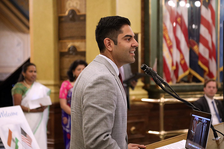 State Rep. Ranjeev Puri (D-Canton) addressed guests during Indian American Legislative Day in the Capitol Rotunda on June 8, 2021.