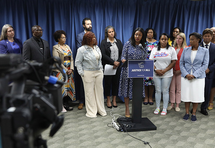 State Reps. Tenisha Yancey (D-Harper Woods), Sarah Anthony (D-Lansing), and Felicia Brabec (D-Pittsfield) held a press conference to unveil their plan for police reforms in Michigan, on June 8, 2021. The Justice for All plan aims to improve safety and restore public trust through increased accountability measures and banning archaic and dangerous police procedures, including no-knock warrants and chokeholds.