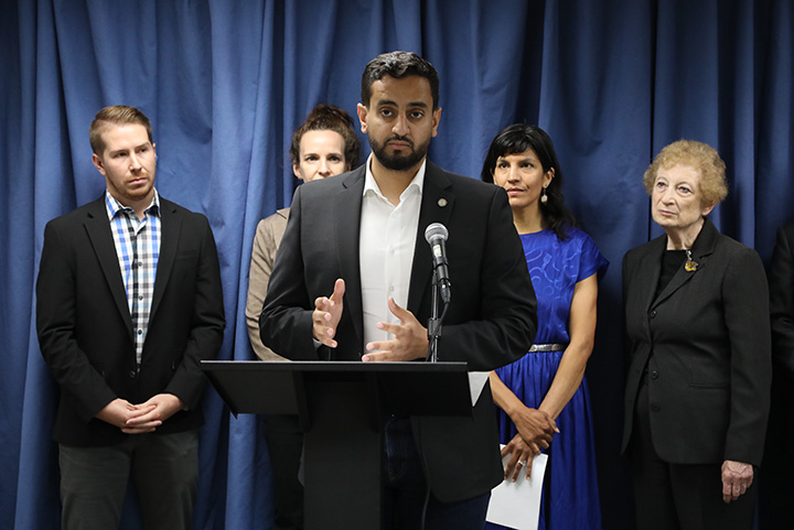 State Reps. Bill Sowerby (D-Clinton Township) and Abraham Aiyash (D-Hamtramck) introduced legislation which would make additions to the Wolf Management Advisory Council and the Michigan Wildlife Council to include the voices of groups and viewpoints not currently represented, at a capital press conference on June 22, 2021.