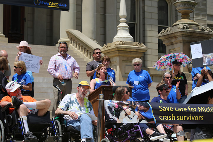 State Rep. Julie Rogers (D-Kalamazoo) spoke at the No Fault Insurance Rally at the Capitol on June 9, 2021.