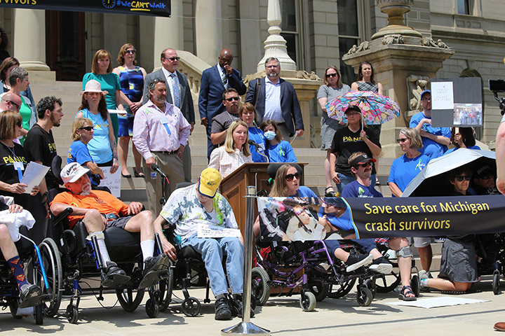 Democratic Leader Donna Lasinski (D-Scio Twp.) spoke at a no fault insurance rally at the Capitol on June 9, 2021.