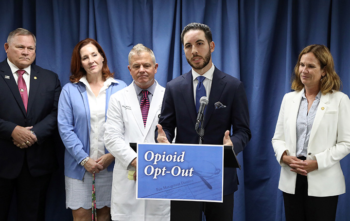 State Reps. Abdullah Hammoud (D-Dearborn), Pamela Hornberger (R-Chesterfield Township) and Mary Whiteford (R-Casco Township) held a press conference unveiling a package of bills aimed at expanding the availability and accessibility of nonopioid directive forms in the state, on August 16, 2021. Nonopioid directive forms allow patients to opt-out of opioid-based pain management unless deemed medically necessary, allowing them to avoid exposure to the class of drugs.