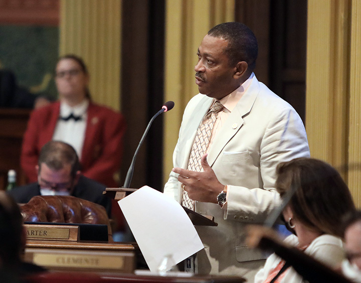 State Rep. Tyrone Carter (D-Detroit) spoke against a package of voting bills that create mistrust and confusion around our elections, on the House floor August 17, 2021.