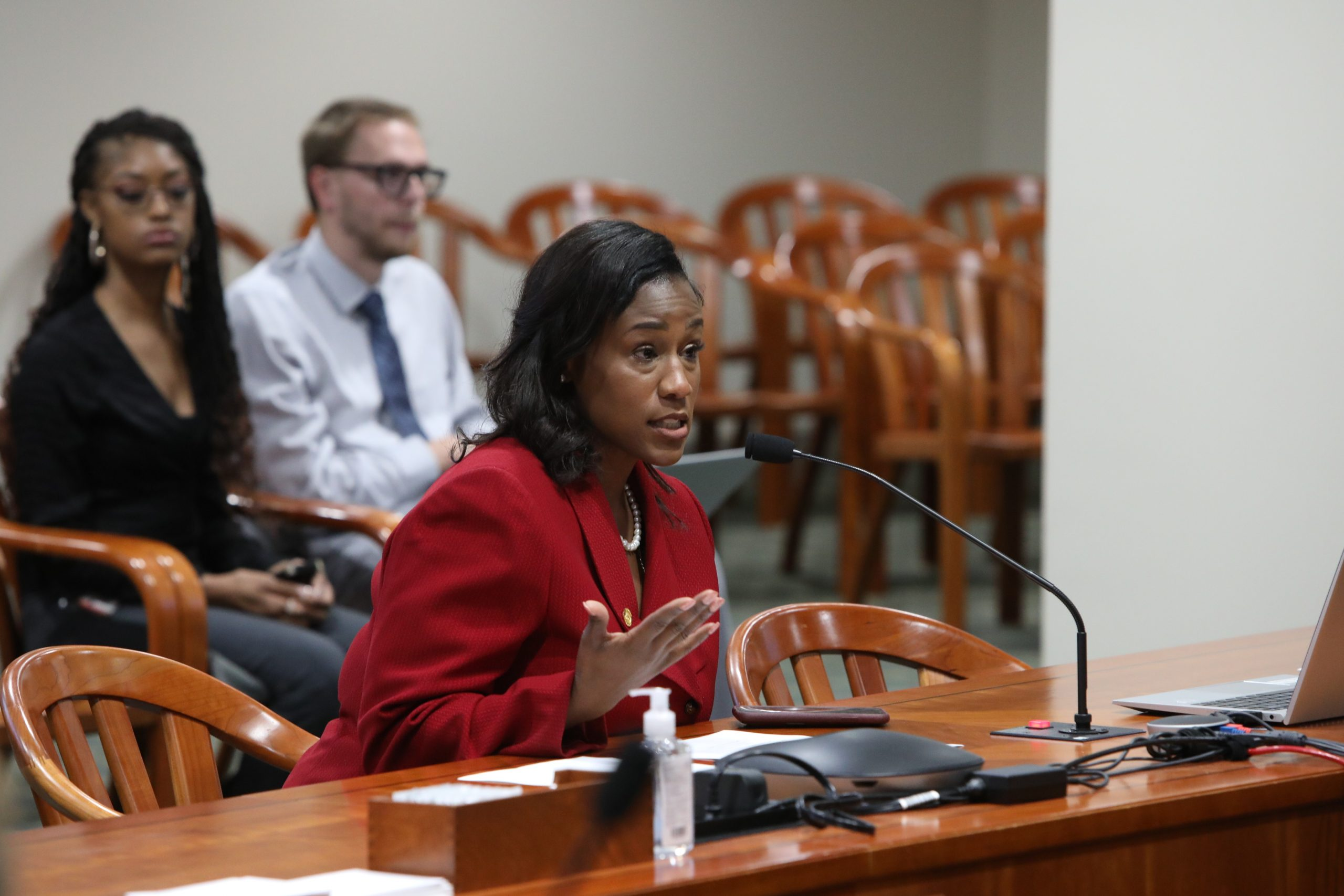State Rep. Tenisha Yancey (D-Harper Woods) testifies in front of the House Tax Policy Committee in favor of eliminating sales and use tax on menstrual hygiene products.