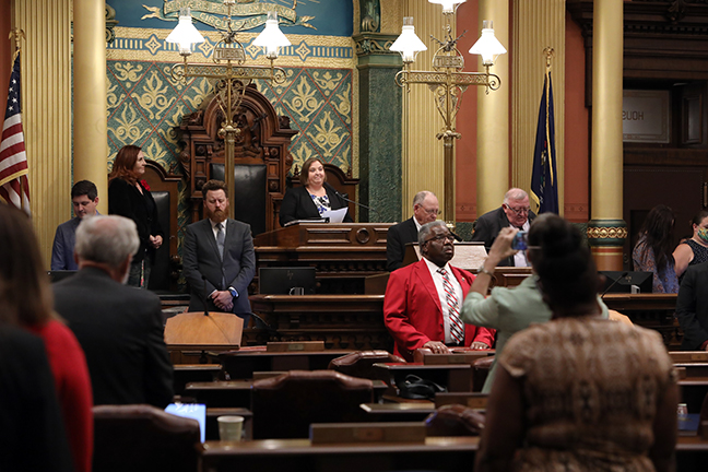 State Rep. Lori Stone (D-Warren) gave the invocation to start Session on September 28, 2021.