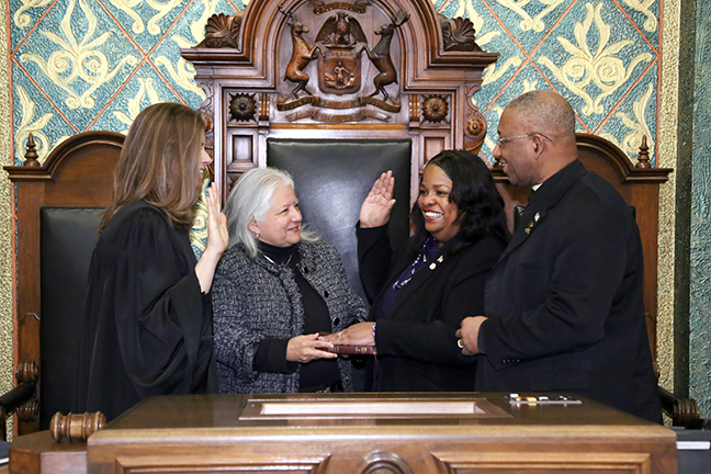 State Rep. Brenda Carter (D-Pontiac) was sworn in officially as representative for the 29th House District for the 2019-2020 legislative session, on Wednesday, January 9, 2019. The swearing-in ceremony marked the formal opening of Michigan's 100th Legislature.