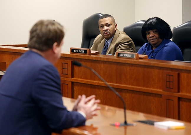 State Reps. Brenda Carter (D-Pontiac) and Tyrone Carter (D-Detroit) listen to testimony in the House Education Committee on Tuesday, March 13, 2019.