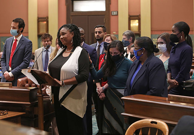 State Rep. Stephanie A. Young (D-Detroit) spoke to her resolution recognizing October as Domestic Violence Awareness Month in Michigan, on October 6, 2021.
